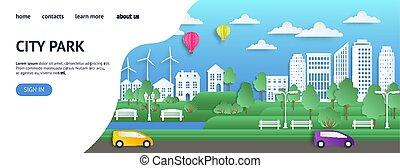 page., stad, stijl, ecologie, mal, zomer, natuur, pagina, tussenverdieping, milieu, stad, vector, groene, papier, schoonmaken, origami, web, plat, website.
