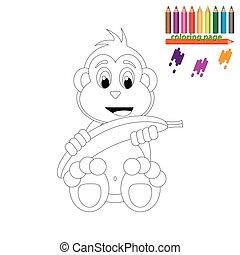 page., szczęśliwy, kolorowanie, małpa, banan