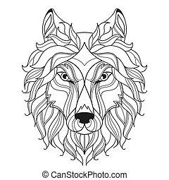 page., tête, coloration, stylisé, loup, zentangle