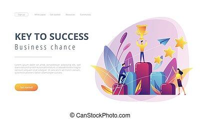 page., tecla, conceito, aterragem, sucesso