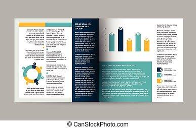 page., teia, esquema, livreto, revista, infographics., template.