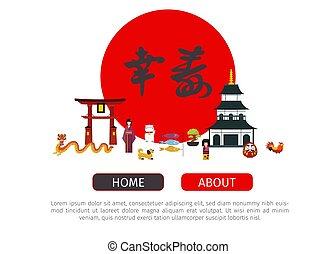 page., toile, femme, illustration., jeune, pagode, japonaise, vecteur, dragon, symboles, mode, kimono, hieroglyth, japon, cercle, chat, rouges