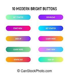 page., toile, gradient, set., boutons, couleur, clair, appeler, action, conception