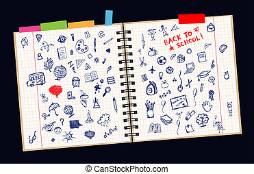page, ton, croquis, conception, concept, école