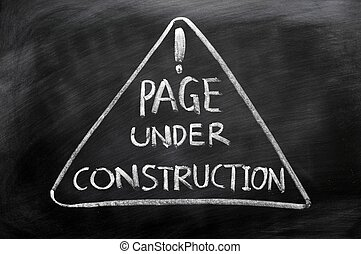 Page under construction concept drawn in chalk on a...