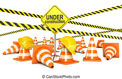 Page under construction. Traffic cones. Road sign. Caution...