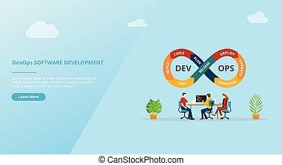 page, vecteur, conception, devops, développement, pratiques, logiciel, site web, bannière, -, gabarit