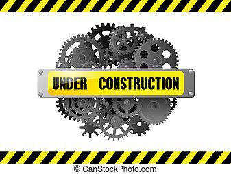 page web, construction, sous, avertissement