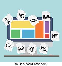 page web, processus, codage, illustration, moderne, vecteur...