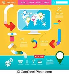 page., web, www, grafik, bunte, heiligenbilder, daheim, -, screen., vektor, layout., landkarte, edv, schablone, welt, funky, seite, design.