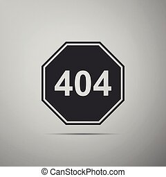Page with a 404 error icon isolated on grey background. Template reports that the page is not found. Flat design. Vector Illustration