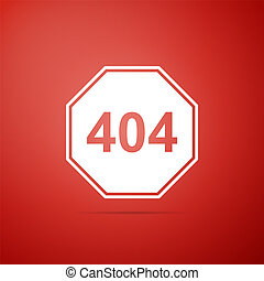 Page with a 404 error icon isolated on red background. Template reports that the page is not found. Flat design. Vector Illustration