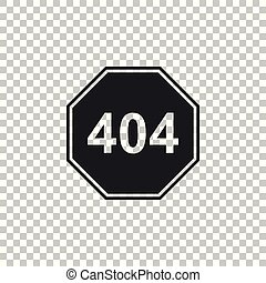 Page with a 404 error icon isolated on transparent background. Template reports that the page is not found. Flat design. Vector Illustration