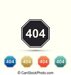 Page with a 404 error icon isolated on white background. Template reports that the page is not found. Set elements in colored icons. Flat design. Vector Illustration