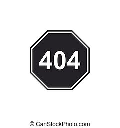 Page with a 404 error icon isolated. Template reports that the page is not found. Flat design. Vector Illustration