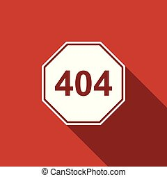Page with a 404 error icon isolated with long shadow. Template reports that the page is not found. Flat design. Vector Illustration