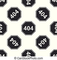 Page with a 404 error icon seamless pattern on white background. Template reports that the page is not found. Flat design. Vector Illustration