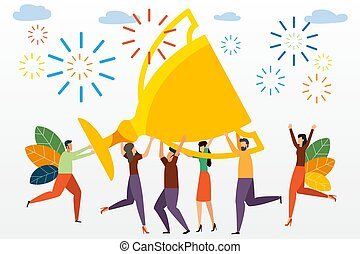 page., zijn, gebruiken, concept, illustration., zakenlui, groot, succes, tussenverdieping, vector, prestatie, vasthouden, team, kleine, trophy., template., vieren, groenteblik