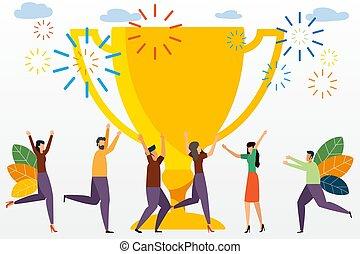 page., zijn, gebruiken, concept, illustration., zakenlui, groot, succes, tussenverdieping, vector, vieren, team, kleine, trophy., template., prestatie, groenteblik
