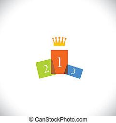 pageant, meta, coroa, melhor, realização, competição beleza, concept., -, também, abstratos, coloridos, alcançar, ilustração, pódio, ícone, representa, gráfico, sucesso, este, vencedor, competição, pessoa, vetorial