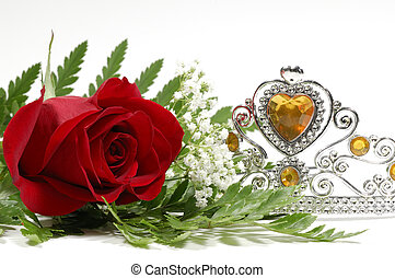 Pageant - Photo of a Red Rose and Tiara Crown - Beauty...