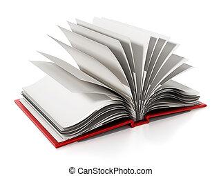 pages., イラスト, 本, ブランク, 白, 開いた, 3d