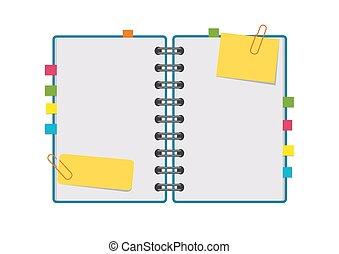 pages., 平ら, ∥あるいは∥, image., カラフルである, スペース, テキスト, メモ用紙, 隔離された, イラスト, らせん状に動きなさい, バックグラウンド。, ベクトル, シート, ∥間に∥, きれいにしなさい, bookmarks, 開いた, 白