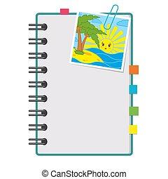 pages., 平ら, ベクトル, らせん状に動きなさい, カラフルである, スペース, 写真, ∥間に∥, 隔離された, イラスト, sunrise., バックグラウンド。, ∥あるいは∥, ノート, テキスト, ブランク, bookmarks, 開いた, 白, image.
