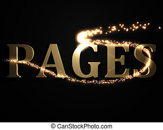PAGES- 3d inscription with luminous line with spark
