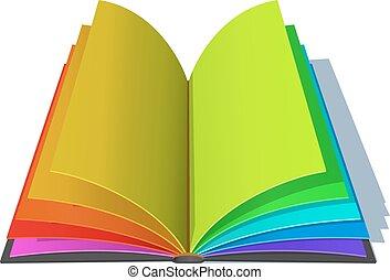 pages., arc-en-ciel, livre, ouvert, coloré