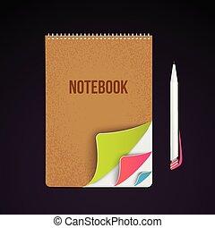 pages., clorful, identity., zakelijk, vrijstaand, donker, achtergrond., aantekenboekje, mal