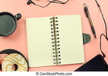 pages., coffee., donuts, photo., caneta, logo, tingido, caderno, telefone., branca, abertos, molas