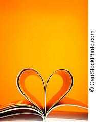 pages, courbé, dans, a, forme coeur