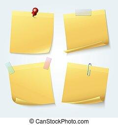 pages, ensemble, note collante jaune, vecteur, papiers