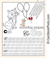 pages, lettres écriture, 3, alphabet, illustration, dessins, ficelle, coloration, anglaise, animal