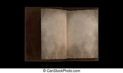 pages, livre, animé, tourner, vieux