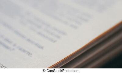 pages, livre, gros plan, tourner, vieux