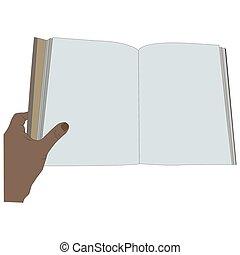pages., livre, vide, tenant main