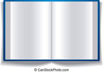 pages., livro, abertos, em branco