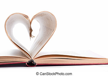 pages of a book curved into heart