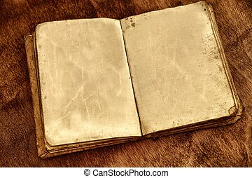 pages., ouderwetse , boek, geopend, leeg