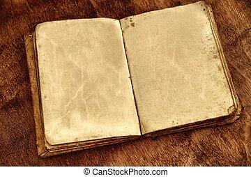 pages., vendange, livre, ouvert, vide