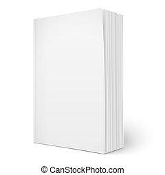 pages., vertical, softcover livre, gabarit, vide