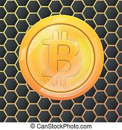 pages web, bitcoins, or, monnaie, autocollant, bitcoin, crypto, arrière-plan., conception, printing., logo, hexagonal, monnaie, ou, bloc, bitocones