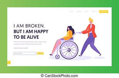 pagina, amico, wheelchair., invalido, pieno, ragazza, web, sostegno, carattere, giovane, godere, sito web, appartamento, suo, seduta, spinta, atterraggio, bandiera, cartone animato, illustrazione uomo, persona svantaggiata, vettore, life., maschio, pagina