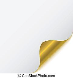 pagina, angolo, con, metallico, difensore