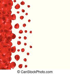 pagina, bordo, con, rosso sorto, petali