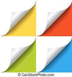 pagina, carta, angolo, bianco, shadow., arricciato