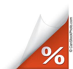 pagina, gekrulde, hoek, met, het teken van het percentage