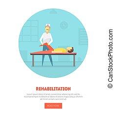 pagina, lichamelijk, spandoek, mensen, na, illustratie, rehabilitatie, orthopedic, vector, tussenverdieping, oefeningen, fysiotherapie, blessures, masseren, geneeskunde